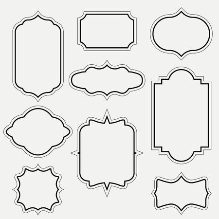 vintage swirl black and white elegant frames set isolated cartoon flat vector illustrations on white background. Ancient frameworks for photo. Ilustração