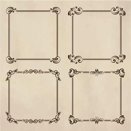 Vintage elegant frames set isolated cartoon flat vector illustrations. Ancient frameworks for photo.