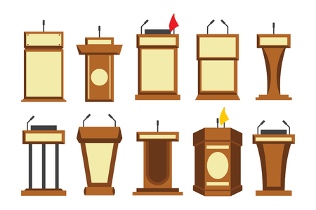 Wooden podium tribune stand rostrum with microphone. Flat icon. Vector illustration isolated on white background