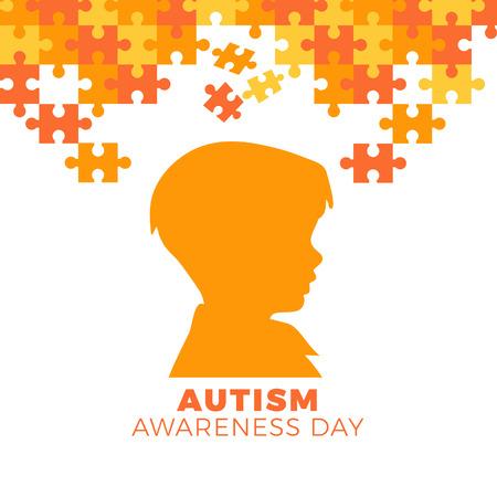autism awareness day puzzle shape Ilustração