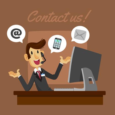 guy in the office vector illustration Иллюстрация
