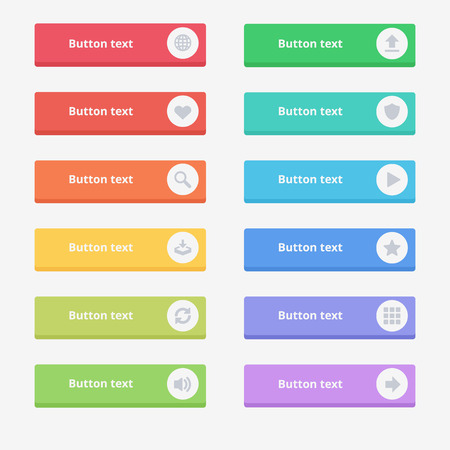 Read More colorful button set with icons Web Vector Illustration