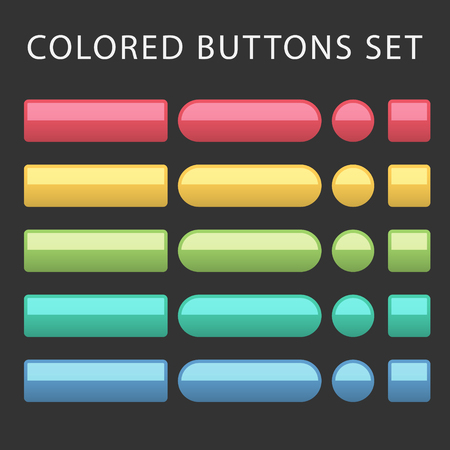 colorful button set with icons Web Vector Illustration Иллюстрация
