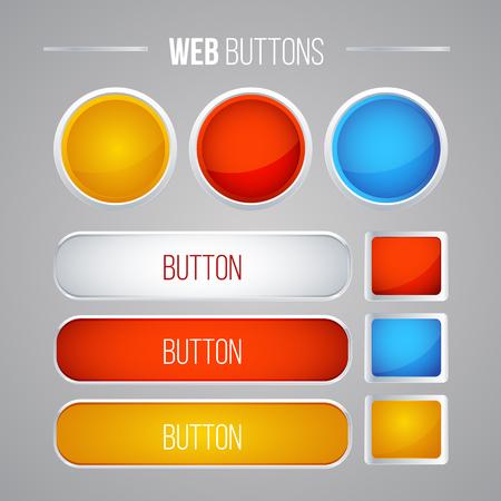 colorful button set with icons Web Vector Illustration Banco de Imagens - 124235883