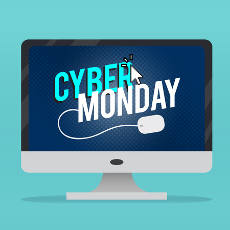 Cyber Monday, discount sale concept illustration in neon style, online shopping and marketing concept, vector illustration. Иллюстрация