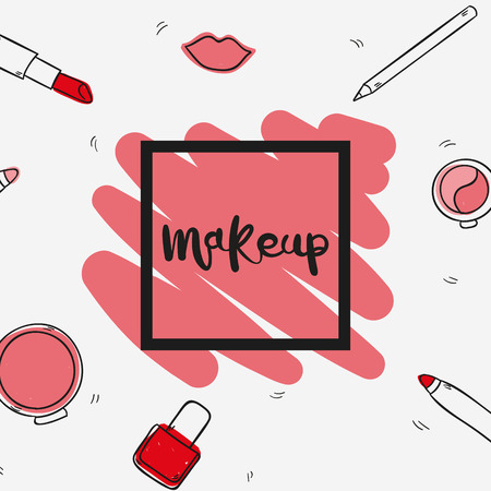 Set of cosmetics, beauty and makeup icons in hand draw design Иллюстрация