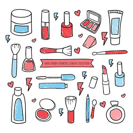 Set of cosmetics, beauty and makeup icons in hand draw design Ilustrace