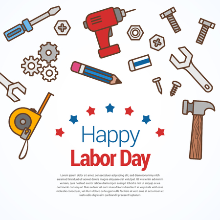 Illustrated labor day us flag text isolated over white. / Labor Day