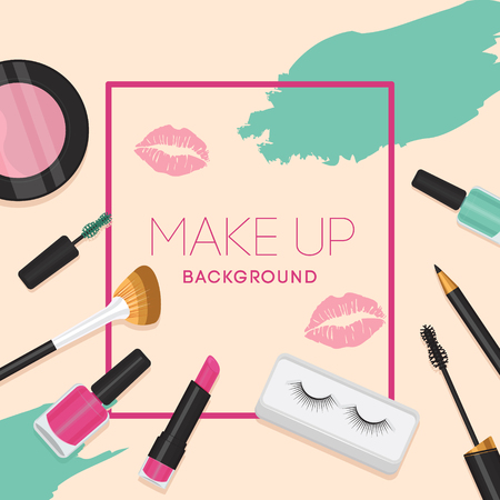Set of cosmetics, beauty and makeup icons in flat design Banco de Imagens - 124235897