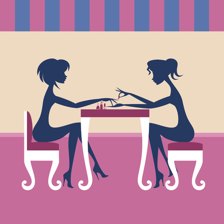 Two women in the cafe Иллюстрация