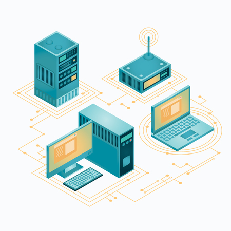 Motherboard, hard drive, cpu, fan, graphic card, memory, screwdriver and case. Set of personal computer hardware. PC components icons. Vector illustration in flat style