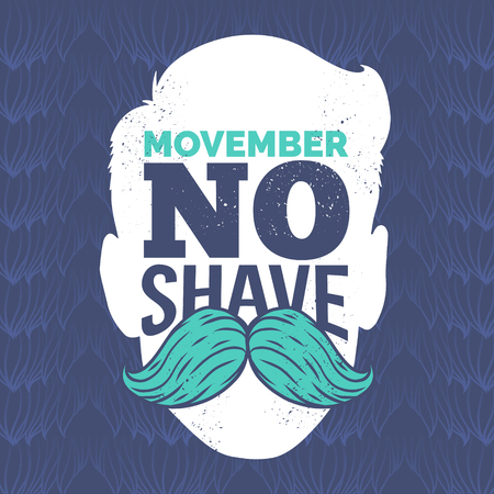 Movember cancer awareness Vector icon. Mustache with hand lettering text and blue ribbon symbolize Movember Awareness Month. Against prostate cancer poster