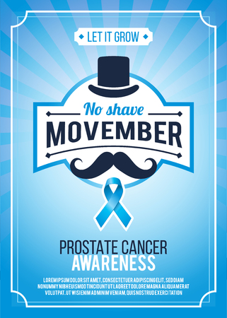 Movember - prostate cancer awareness month. Mens health concept. Moustaches and blue ribbon background. Good for poster, banner, card design.