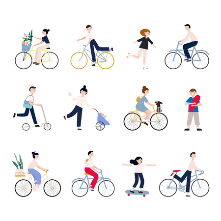 Group of tiny people riding bikes on city street during festival, race or parade. Collection of men and women on bicycles isolated on white background. Colored vector illustration in cartoon style. Çizim