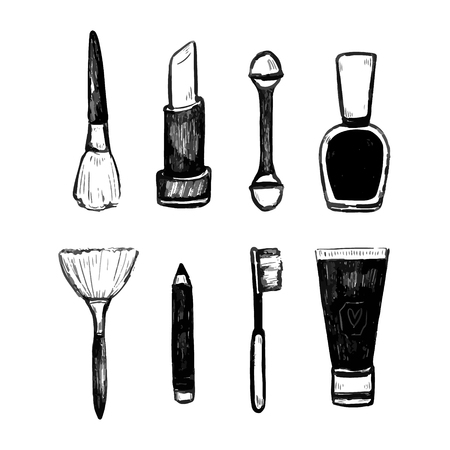 Set of cosmetics, beauty and makeup icons in flat design Banco de Imagens - 124235917