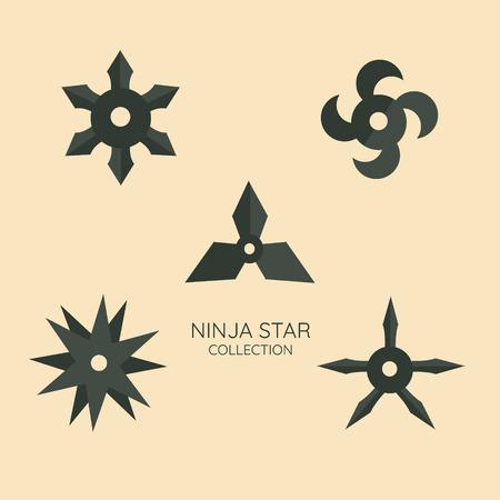 Ninja stars set. Shuriken, Japanese concealed weapon of sharpened metal throwing stars. Vector flat style cartoon illustration isolated on white background