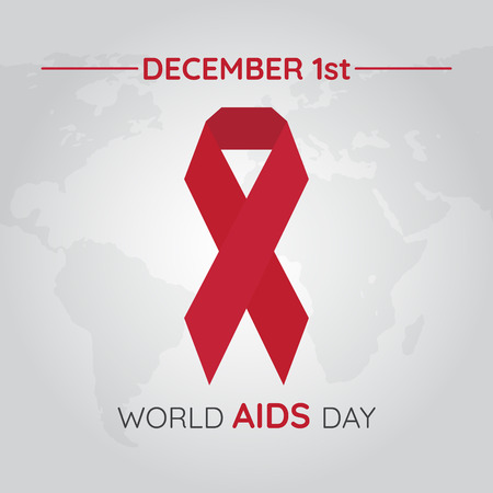 Aids Awareness Red Ribbon. World Aids Day concept. Vector Illustration Ilustração