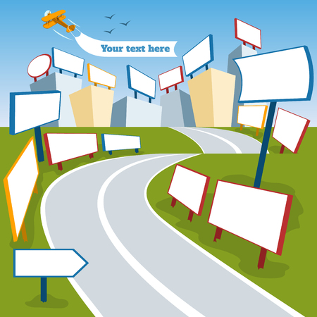 Billboard flat of different perspectives advertising construction for outdoor advertising big billboard isolated vector illustration