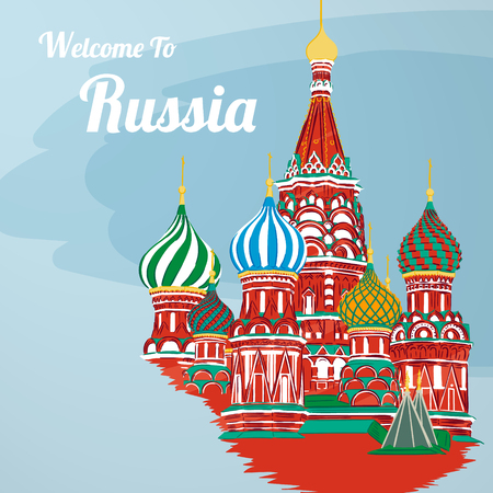 Welcome to Russia. St. Basil s Cathedral on Red square. Kremlin palace isolated on white background - vector stock flat illustration. Landscape design
