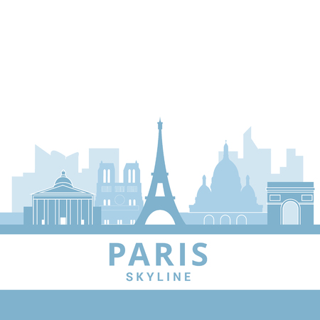 Symbol of Paris in paper cute style with city and Eiffel tower, Welcome to Paris, France. Vector illustration Иллюстрация