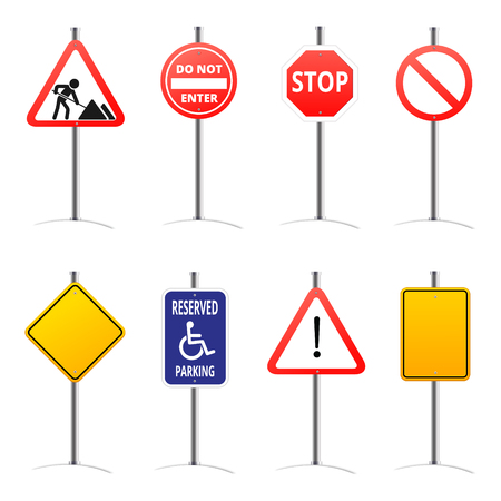 Set of road signs isolated on transparent background.