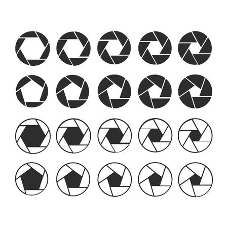 Camera shutter icons set