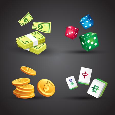 Geldsymbol und Würfel und Mahjong-Kachel