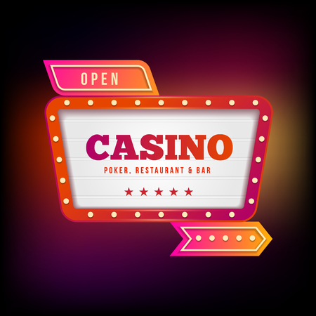 Sign Board casino.Playing cards and poker chips casino. Poker casino vector illustration. Gambling concept.