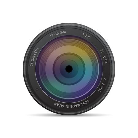 lente de la cámara con obturador Ilustración de vector