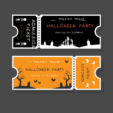 Halloween Tickets Template. Place for your text. Vector illustration with Halloween Vintage symbols. Great design for halloween party, menu or invitation.