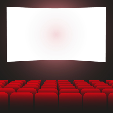 Cinema auditorium with screen and seats Vector Illustratie
