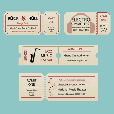 Concert ticket template. Concert, party or festival ticket design template. Entrance to the event.