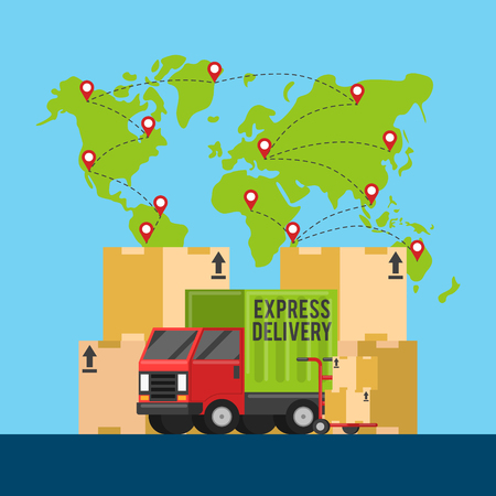 Delivery service chain. Winding road map of product journey to customer vector infographic. Delivery business, truck, transport and logistic illustration Illustration