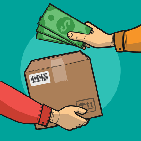 Payment by cash for express delivery. Flat illustration how people deliver package and pay for the delivery by cash. Human hand holds money and pay for the package. Courier get payment for it Vettoriali