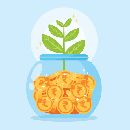 bank, jar, money, Save money, vector illustration, Monetary profit Ilustração