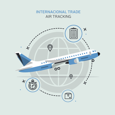 Global logistics network. Flat vector illustration Air cargo trucking. On-time delivery. Vehicles designed to carry large numbers cargo Illustration