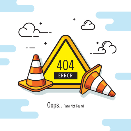 road signs broken robot 404 error vector illustration Иллюстрация