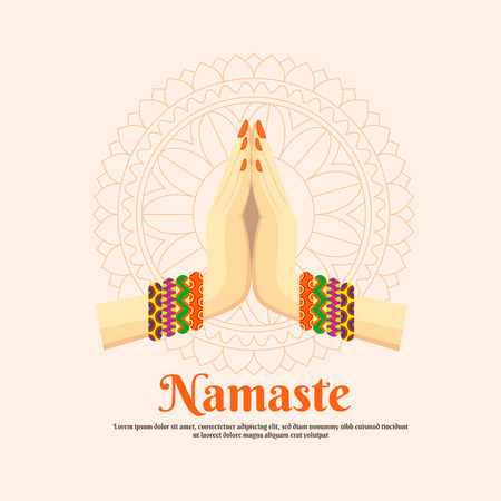 Indian womans hand greeting posture of namaste, vector illustration Illustration