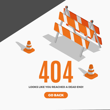 Flat line icon concept of 404 Error Page or File not found icon.Error 404 page with road isometric construction signs.