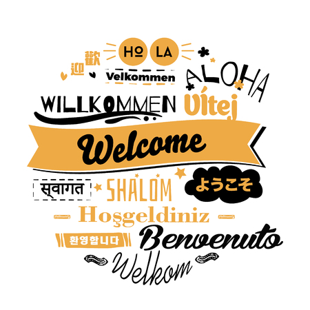 Text with word hello in different languages. Illustration