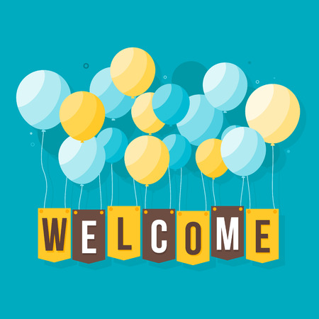 Flat Welcome Home text with Colorful Balloons