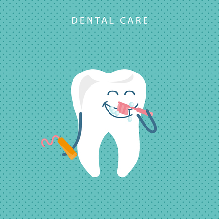 Happy white shiny tooth graduate. Idea of dental care and oral hygiene. Healthy molar in cap with diploma. Funny character. Isolated flat vector illustration
