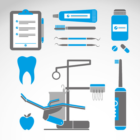 Dental instruments with tooth in circle shape. World Dentist Day Campaign. Vector Illustration isolated on blue background. Great for greeting card, poster and banner