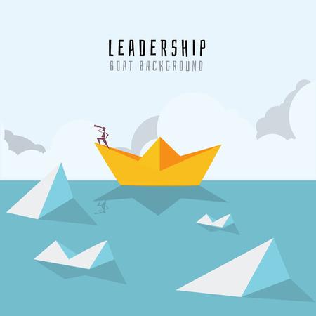 Homme d'affaires sur un bateau en papier sur la mer avec des icebergs. Symbole du risque commercial et du leadership.