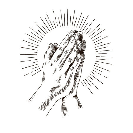 hand draw praying hands Illustration