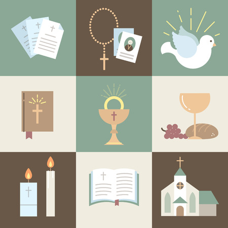 Religious icons within the vector illustration
