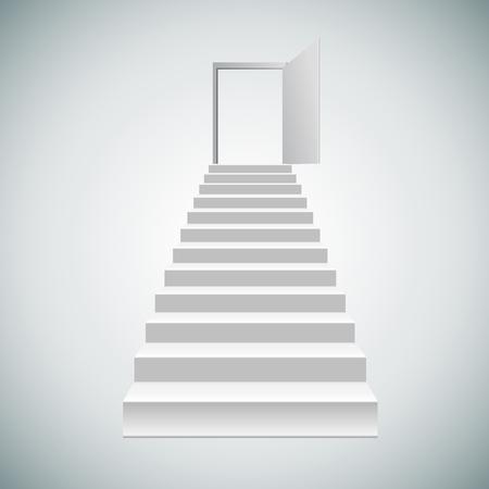 escaliers blancs vierges réalistes. Vector illustration.menez à la porte