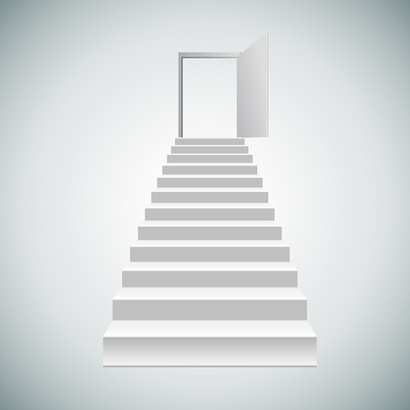 realistic blank white stairs. Vector illustration.lead to the door