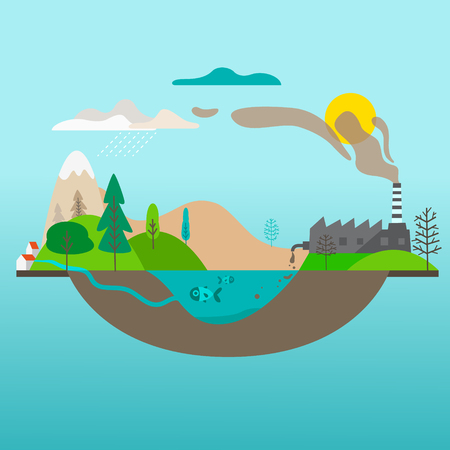 Ecology cartoon comparative concept with clean planet because of use alternative energy sources and dirty earth due to industrial environmental pollution vector illustration Фото со стока - 123338998