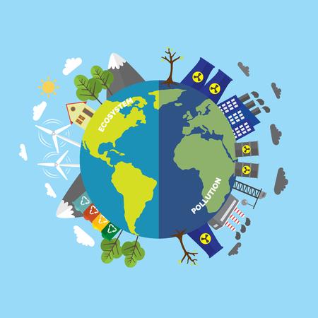 Concepto comparativo de dibujos animados de ecología con planeta limpio debido al uso de fuentes de energía alternativas y tierra sucia debido a la ilustración de vector de contaminación ambiental industrial